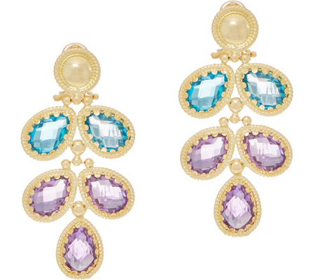 Arte d' Oro 11.85 cttw Floral Gemstone Dangle Earrings 18K Gold
