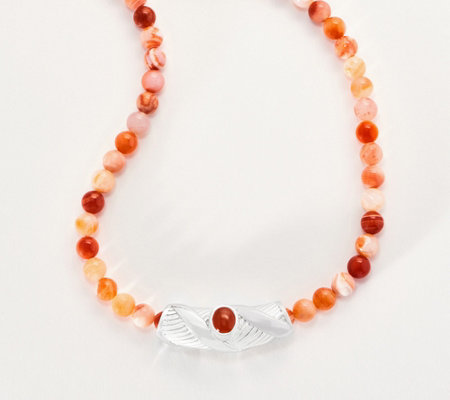 Sterling Silver Gemstone Bead Statement Necklace