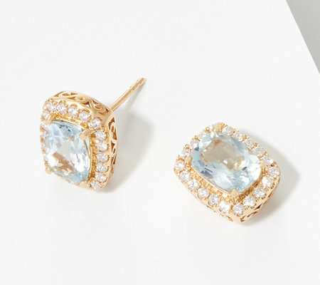 Elongated Cushion Cut Aquamarine Diamond Earrings 14k