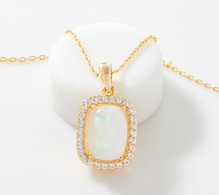 Opal & White Topaz Pendant with Chain, 0.60 cttw, 14K Gold Plated
