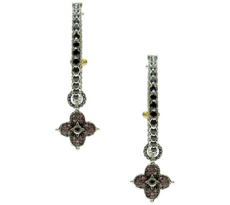 Barbara Bixby Sterling & 18K Pave Gemstone HoopEarrings