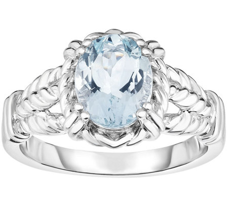 Sterling 1.50 ct Oval Aquamarine Ring