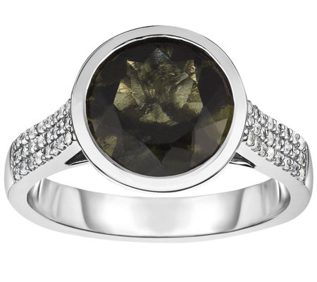 Sterling 2.50 cttw Moldavite & White Zircon Ring
