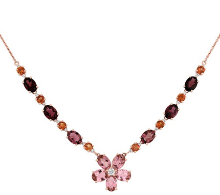 14K Gold 10.00 cttw Multi-Gemstone & 1/3 cttw Diamond Necklac