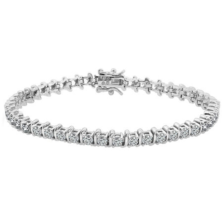 Diamonique 5.40-Carat Tennis Bracelet, Platinum-Clad Sterling