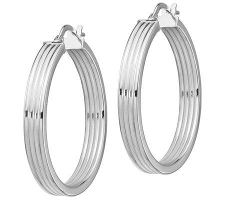 Italian Silver Ribbed Hoop Earrings