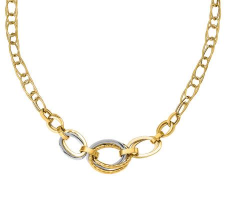Italian Gold Two Tone Interlocking Oval Link Necklace 14k