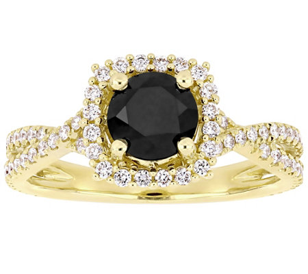 Affinity Black Round Diamond Halo Ring 14k 1 50 Cttw