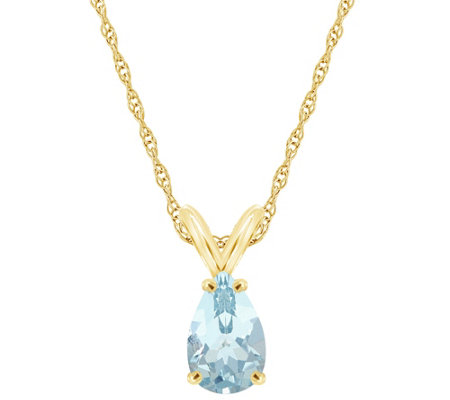 14K Gold Pear-Shaped 0.60 ct Aquamarine Pendantw/ Chain