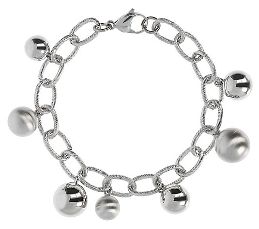 "Steel by Design 8"" Polished & Satin Bead CharmBracelet"