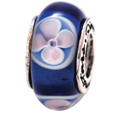 Prerogatives Sterling Blue and White Floral Glass Bead