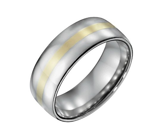 Steel By Design Men's 8mm Polished Ring w/14K Gold Inlay
