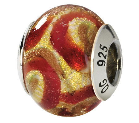 Prerogatives Sterling Gold and Red Italian Murano Glass Bead
