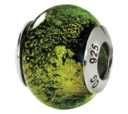 Prerogatives Sterling Green/Black Italian Murano Glass Bead
