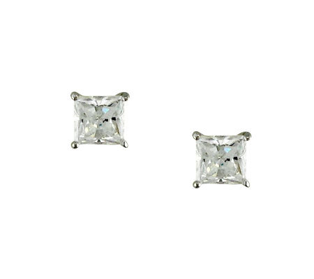 Diamonique 1.00 ct tw Princess Cut Stu d Earrings