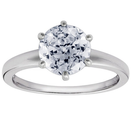 Diamonique 2.00 cttw 100-Facet Solitaire Ring,Platinum Clad