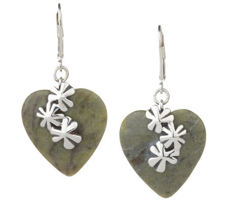 Connemara Marble Sterling Shamrock Heart Earrings