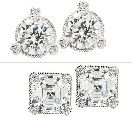 Judith Ripka 5 Ct Tw 100 Facet Round Stud Earrings