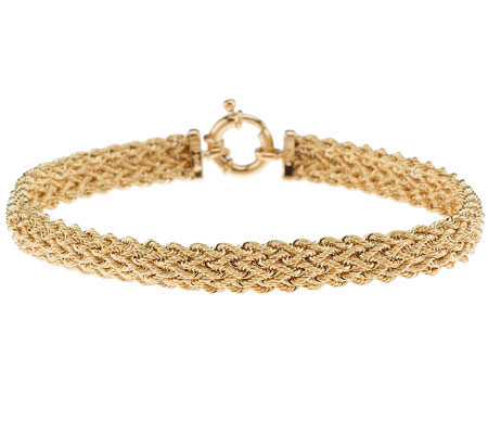 Eternagold 8 Bold 5 Row Woven Rope Bracelet 14k Gold