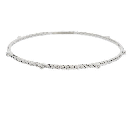 VicenzaSilver Sterling Woven Diamonique Station Round Bangle