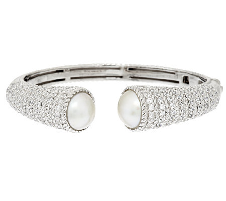 Judith Ripka Sterling 3.75ct Diamonique Hinged Cuff w/ Mabe Pearl