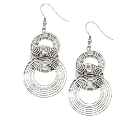 Stainless Steel Multi-Circle Dangle Earrings