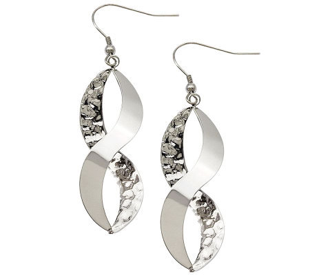 Stainless Steel Polished & Textured Twist Dangle Earrings