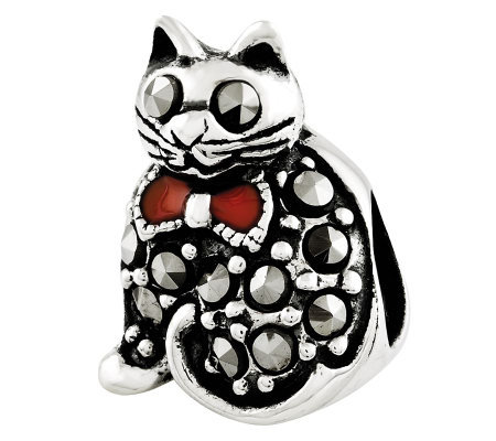Prerogatives Sterling Marcasite Cat Bead