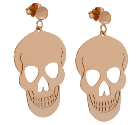 Bronzo Italia Polished Skull Dangle Earrings