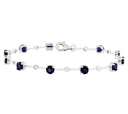 "Sterling 7"" Round Gemstone with White Topaz Bracelet"