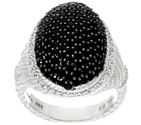Judith Ripka Sterling Pave' Black Spinel 1.80 cttw Ring