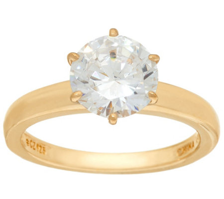 Diamonique 2.00 cttw Solitaire Ring, 14K Yellow Clad