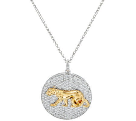 TOVA for Diamonique Panther Pendant w/ Chain, Sterling
