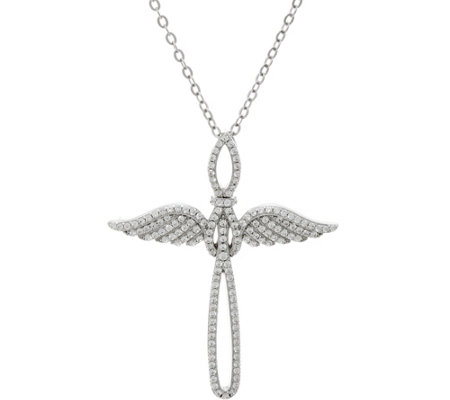 "Diamonique Angel Wing Cross Necklace w/ 18"" Chain, Sterling"