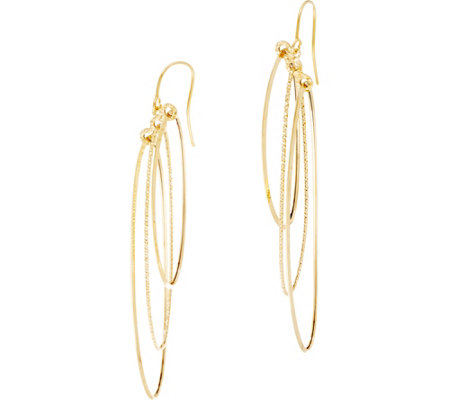 Italian Gold Polished & Textured Oval Dangle Earrings 14K