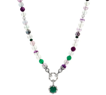 Carolyn Pollack Gemstone Bead Sterling Silver Necklace with Enhancer