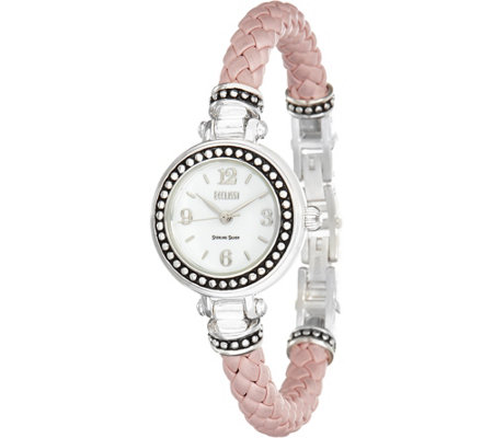 Ecclissi Sterling Silver Braided Leather Watch
