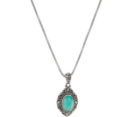 Artisan Crafted Sterling Silver Cabochon Gemstone Pendant w/Chain