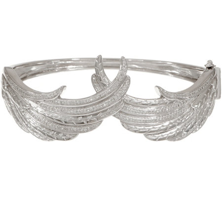 Angel Wing Diamond Bangle, Sterling, 1/2 cttw, by Affinity