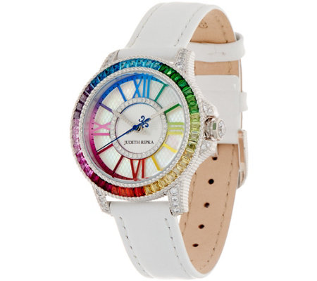Judith Ripka Stainless Steel Rainbow Diamonique Watch