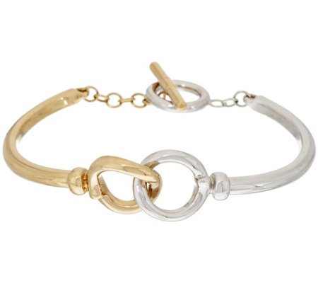"""As Is"" 14K Gold Small Interlocking Status Link Toggle Bracelet"