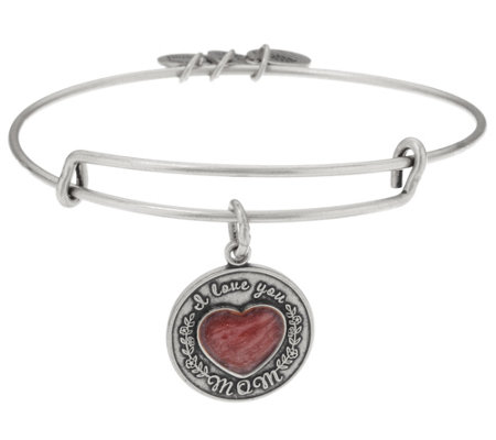 As Is Alex And Ani I Love You Mom Charm Bangle Bracelet