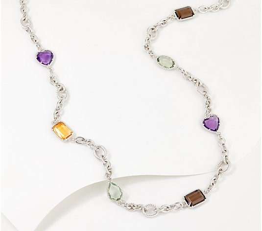 Judith Ripka Verona Sterling or 14K Clad Gemstone Necklace
