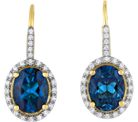 14K Plated 4.50 cttw Blue Topaz & White ZirconEarrings