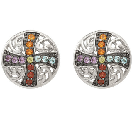 Sterling & Black Rhodium Multi-Gemstone Post Earrings