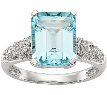 Sterling & 14K Sky Blue Topaz and Diamond Ring