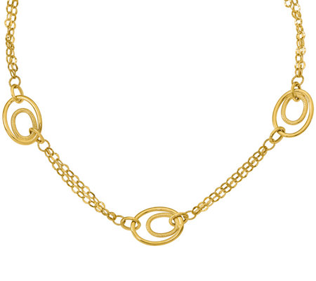 14K Double Chain Oval Link Necklace, 5.5g