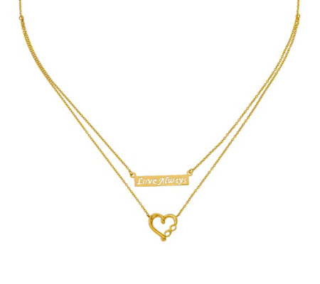 "14K Two-Strand ""Love Always"" & Infinity Heart Necklace"
