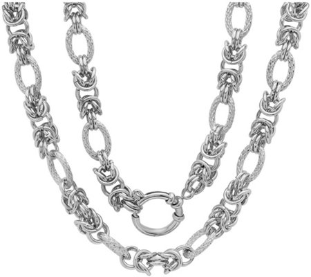 "Stainless Steel Byzantine Link 18"" Necklace"