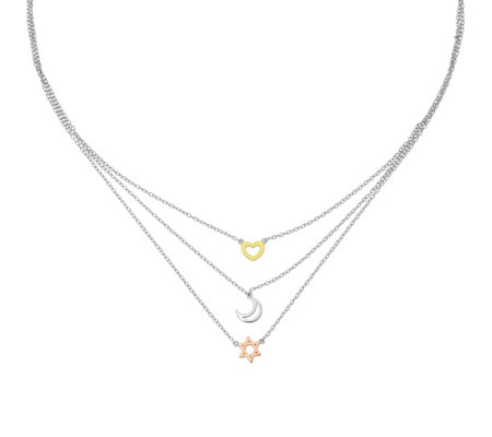 Sterling Tri-color Sun Moon Star Necklace by Silver Style